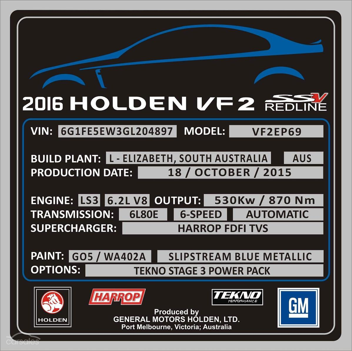 2015 Holden Commodore SS V Redline VF Series II Auto MY16